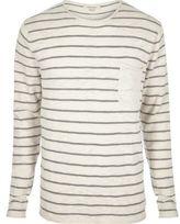 River Island Mens Ecru stripe crew neck long sleeve T-shirt