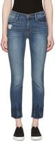 Frame Blue le High Straight Raw Edge Fade Jeans