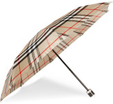 Burberry Checked Twill Umbrella - Camel
