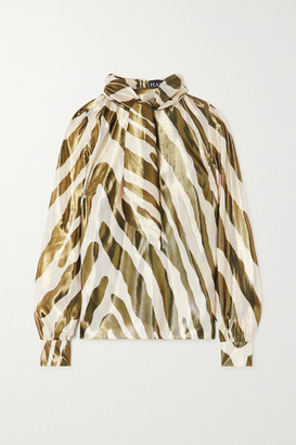 HANEY Billie Metallic Zebra-print Silk And Lurex-blend Blouse - Zebra print