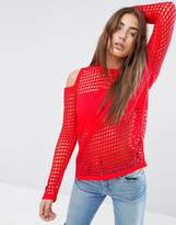 Asos Sweater In Mesh With Cold Shoulder