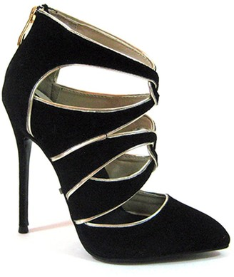 """The Highest Heel FIERCE-41 Micro-Suede Ankle High Shoes with Decorative Cut Outs and 4.5"""" Heel Pump"""