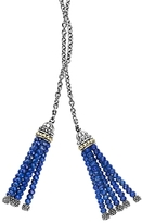 Lagos 18K Gold and Sterling Silver Caviar Icon Lariat Necklace with Lapis Tassels, 42