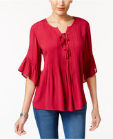 Style&Co. Style & Co Ruffled Lace-Up Top, Only at Macy's
