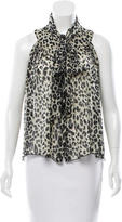 Anna Sui Silk Leopard Print Top