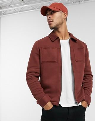 Jack and Jones boxy jacket in jersey burgundy
