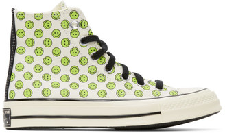 Converse Off-White and Green Happy Camper Chuck 70 High Sneakers