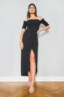 boohoo Off The Shoulder Frill Edge Maxi Dress