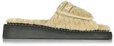 See by Chloe Beige Signature Fabric Flat Slide