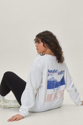 Nasty Gal Womens Snake Valley Plus Graphic Sweatshirt - White - 14-16, White
