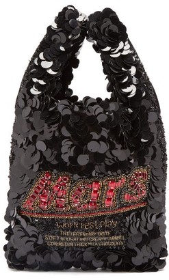 Anya Hindmarch Mars Bar Sequinned Tote - Womens - Black Multi