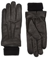Italian Leather Cuff Knitted Gloves With Thinsulatetm