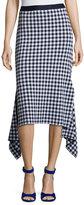 Rosetta Getty Gingham Check Midi Skirt, Blue/White