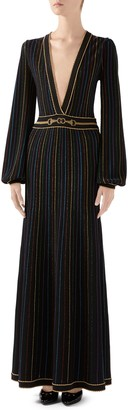 Gucci Metallic Stripe Long Sleeve Maxi Sweater Dress