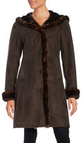 Gallery Faux Fur-Trimmed Hooded Coat