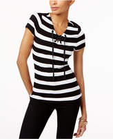 INC International Concepts Striped Lace-Up Top, Created for Macy's