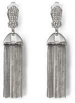 Silvertone Pavé Tassel Clip Earrings