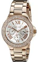 SO & CO New York Women's 5019.4 Madison Quartz Day and Date Crystal Accented Rose Gold-Tone Watch