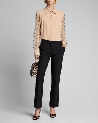 Fendi Organza Sleeve Jersey Shirt