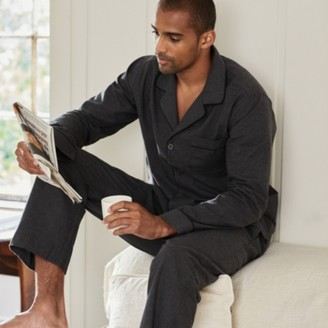The White Company Mens Flannel Piped Pyjama Set, Dark Charcoal Marl, Large