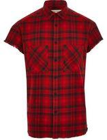 River Island Mens Red check short sleeve casual shirt