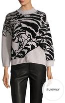 Temperley London Tiger Asymmetrical Intarsia Sweater