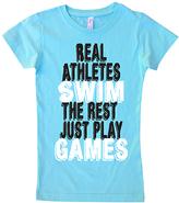 Micro Me Aqua 'Real Athletes Swim' Crewneck Tee - Toddler & Girls