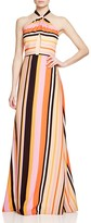 Kay Unger Stripe Cutout Halter Gown