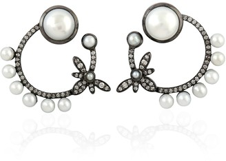 Artisan 18K Gold Earring With Pearl & Pave Diamonds