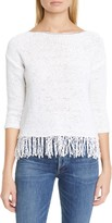 Fabiana Filippi Chain Trim Fringe Hem Cotton Blend Sweater