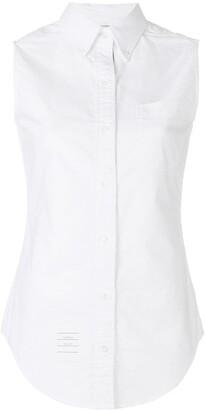 Thom Browne Sleeveless Grosgrain Oxford Shirt