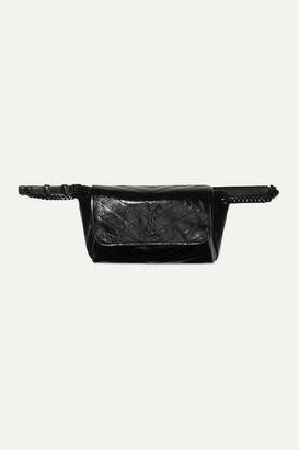 Saint Laurent Niki Medium Quilted Crinkled Glossed-leather Belt Bag - Black