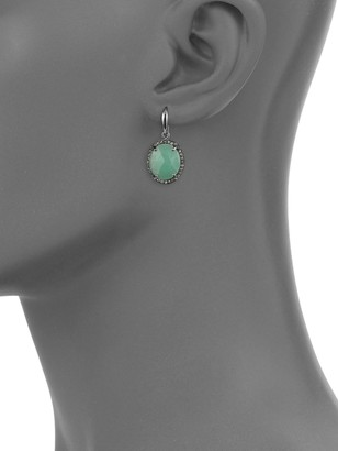 Bavna Chrysoprase & Pave Diamond Drop Earrings