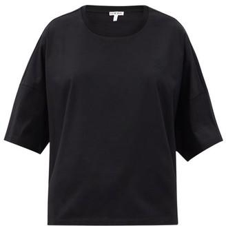 Loewe Logo-embroidered Oversized Cotton-jersey T-shirt - Black