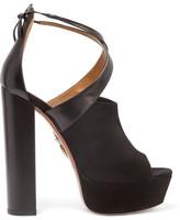 Aquazzura Kaya Leather And Suede Platform Sandals - Black