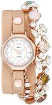 La Mer Women's LMDELCRY1505 Portugal Crystal Analog Display Quartz Champagne Watch