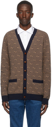 Gucci Navy and Beige Wool GG Stripe Cardigan