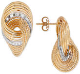 Italian Gold Two-Tone Knot Drop Earrings in 14k Gold