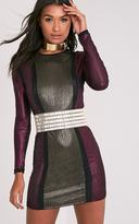 PrettyLittleThing Nikalia Gold Metallic Contrast Bodycon Dress