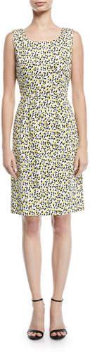 Escada Sleeveless Side-Button Lemon-Print A-Line Dress