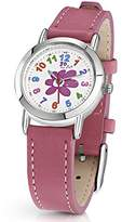 Jo for Girls Flower Analogue Quartz Watch with Pink Leather Strap