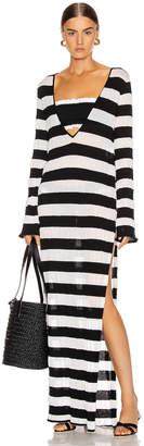 Caroline Constas Long Sleeve V-Neck Dress in Black & White | FWRD