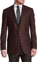 Hart Schaffner Marx Rust Plaid Two Button Notch Lapel Wool Blend Sport Coat