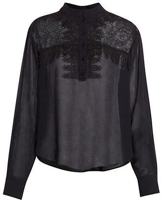 See by Chloe Ruffle Long-Sleeve Georgette Blouse