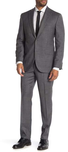 Jack Victor Napoli Charcoal Sharkskin Two Button Notch Lapel Wool Suit