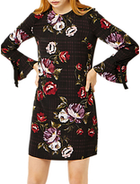 Warehouse Country Rose Tie Cuff Dress, Black Print