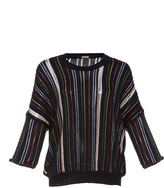 ADAM by Adam Lippes Black Cotton Stripe Cropped Pullover