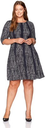 Gabby Skye Women's Plus Size 3/4 Sleeve Round Neck Knit Fit & Flare Dress