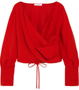 Adeam - Wrap-effect Crepe Blouse - Tomato red