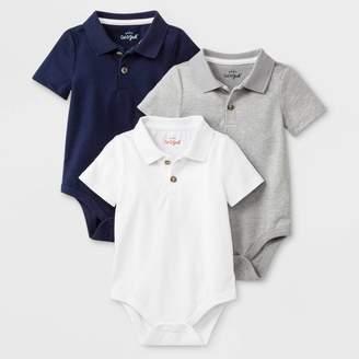 Cat & Jack Baby Boys' 3pk Short Sleeve Polo Bodysuits - Cat & JackTM Gray/Navy/White